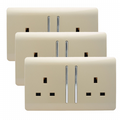 Trendi 2 Gang Artistic Modern Glossy 13 Amp Switched Tactile Plug Socket Champagne Gold (3 Pack)